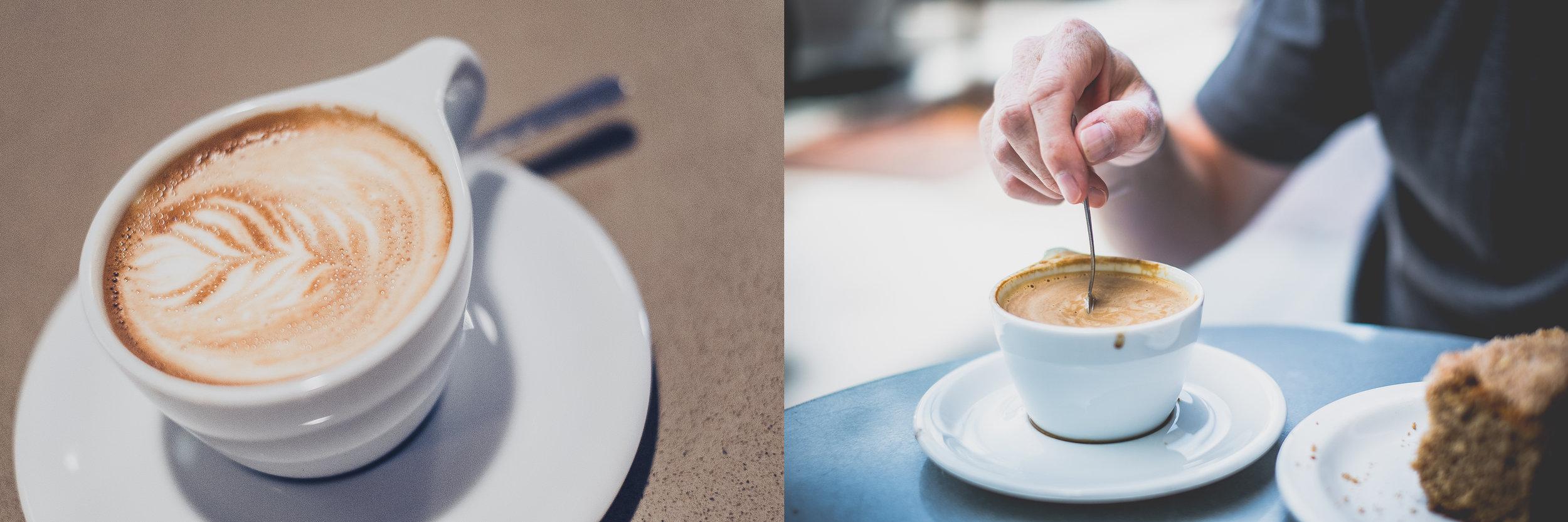 A cappuccino at Flying Goat Coffee, Healdsburg, CA