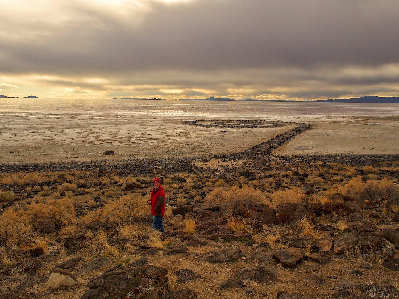 The Spiral Jetty along the northeastern Great Salt Lake