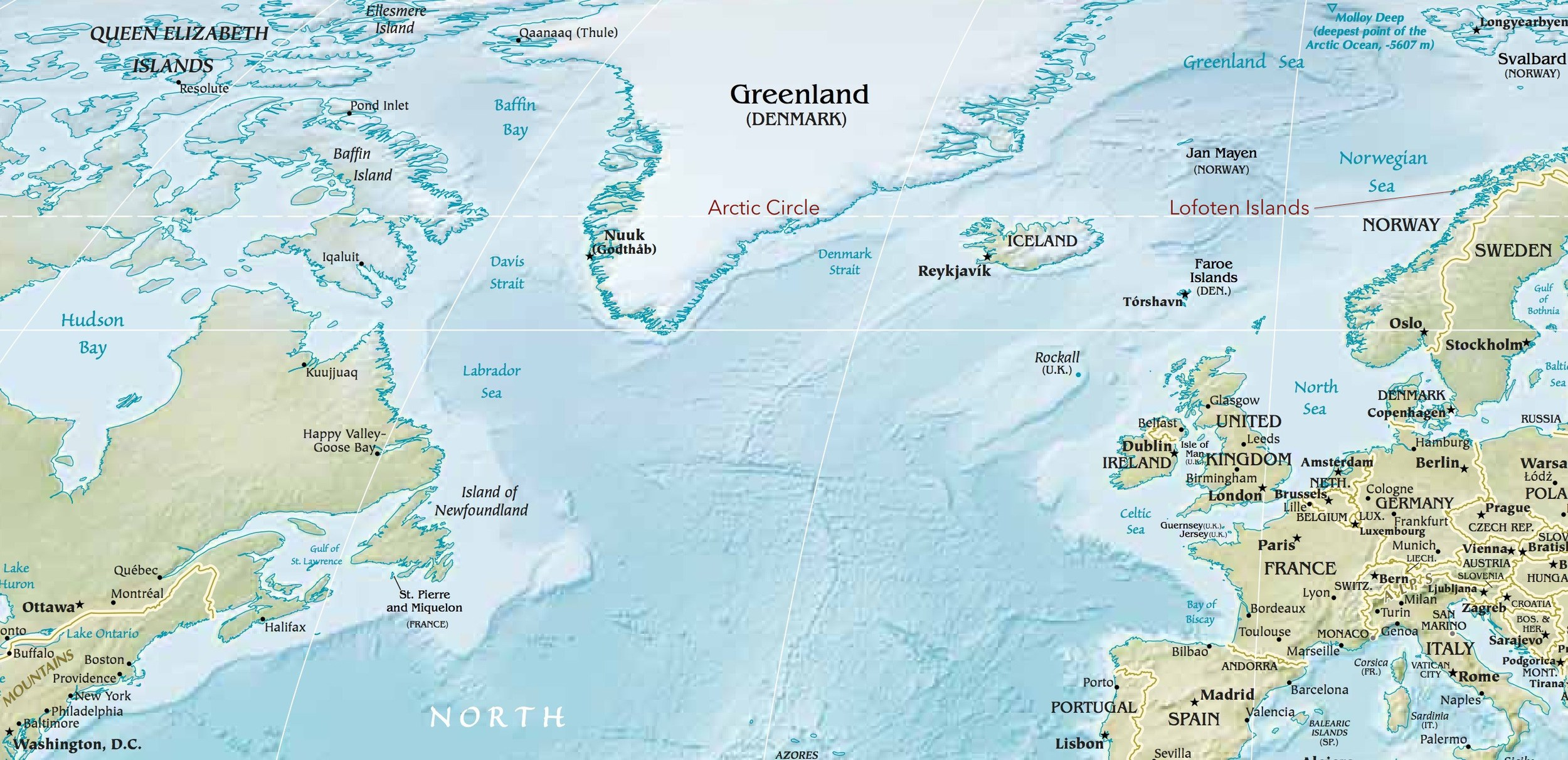 Arctic map view from CIA World maps online; Lofoten Islands and Arctic Circle markings added