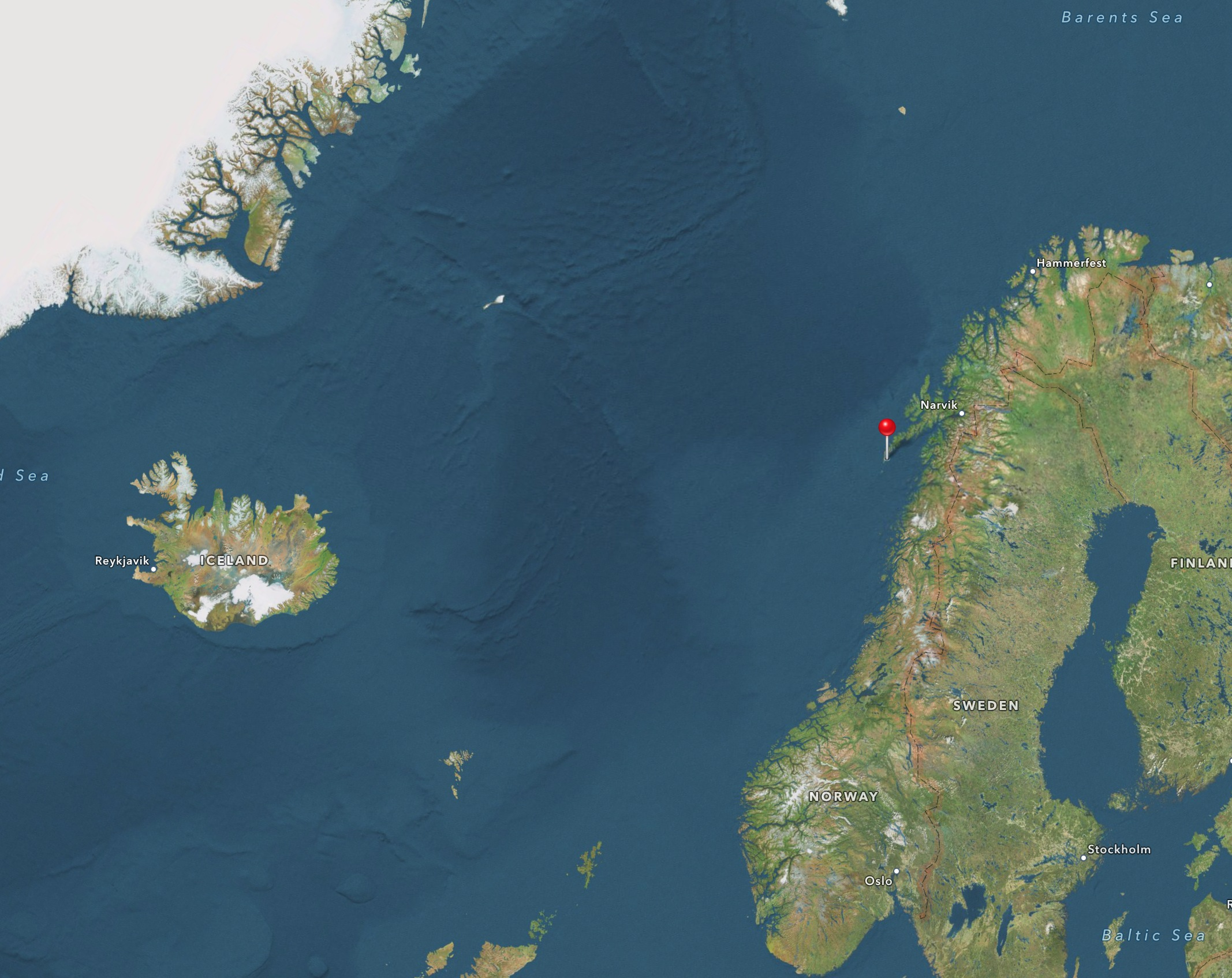 An Apple maps screenshot showing our final destination in Reine on the end of the Lofoten Island chain