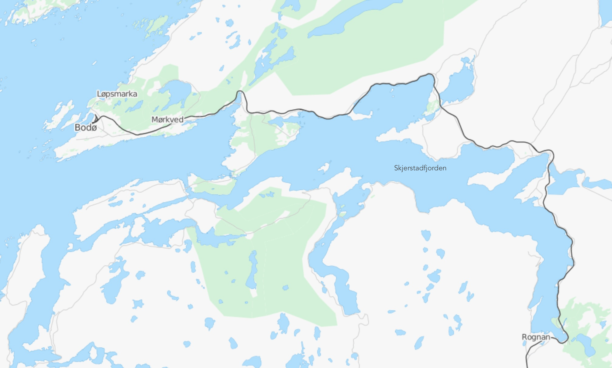 OpenStreetMaps showing the fjord,Skjerstadfjorden,which the train skirts onapproach toBodø