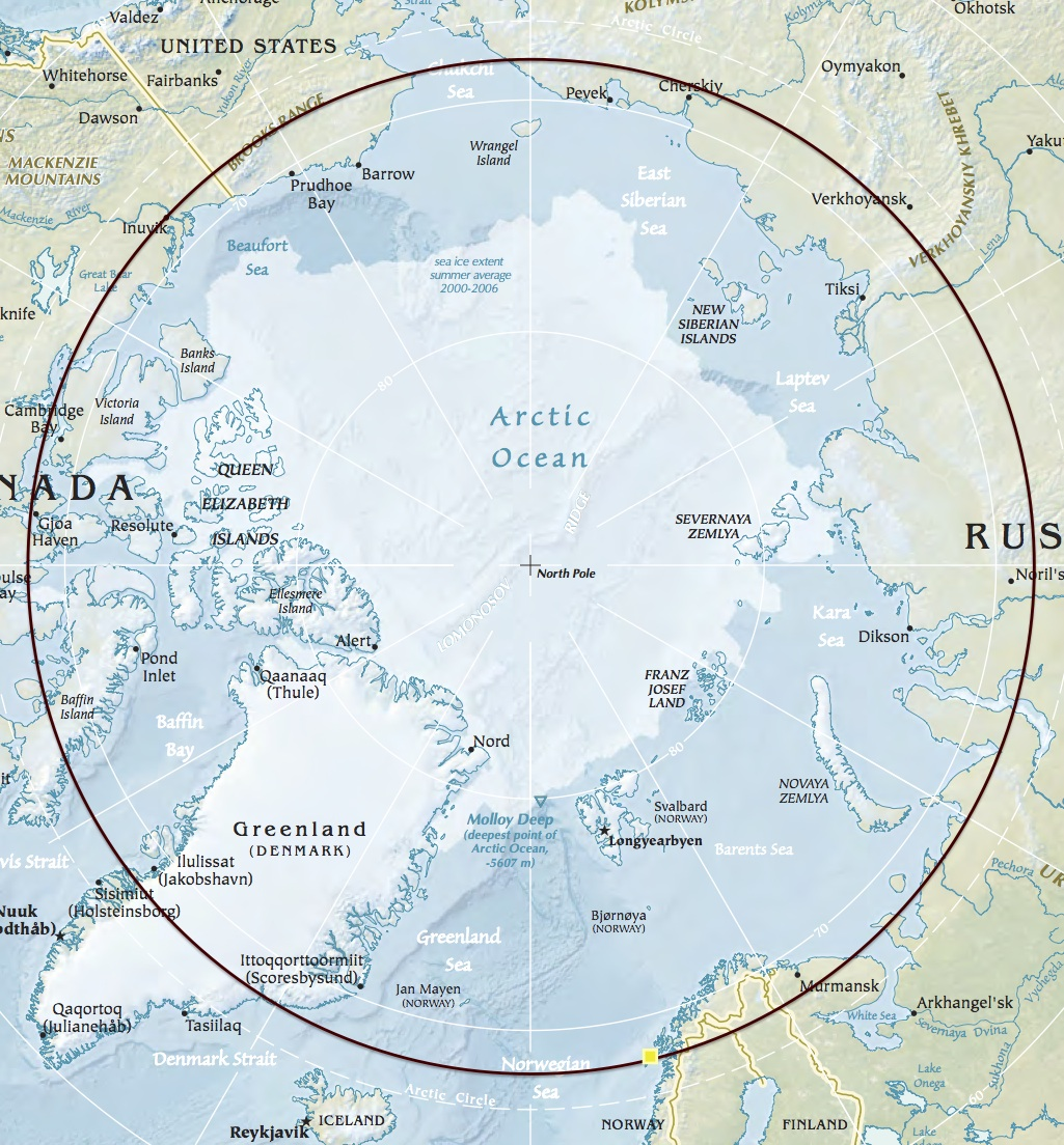 I dropped a circle  at     67°55′N, marking  Reine (yellow dot) latitude. It's easy to see how far north it lies compared to Greenland, Siberia or Alaska.  Map from CIA World Factbook.