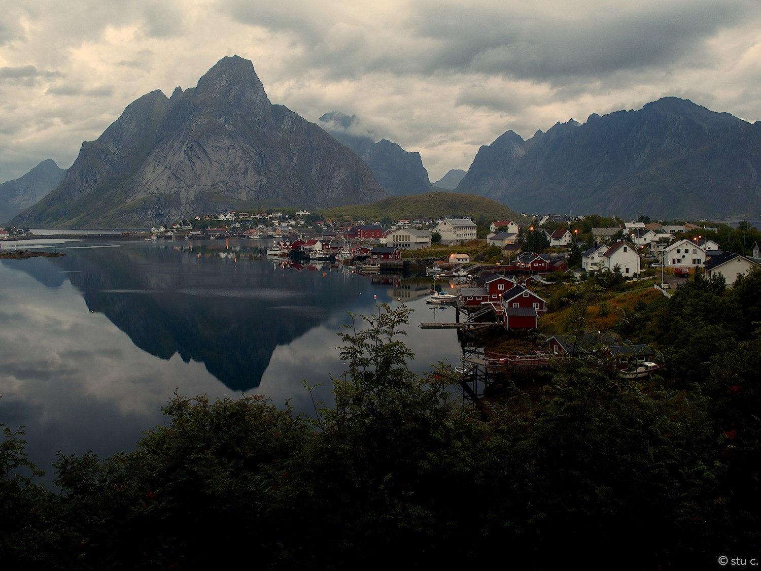 Early morning view back over the bay to the peninsula on which the town of Reine sits