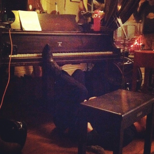 The evening of course ended with me on the floor playing the Piano.