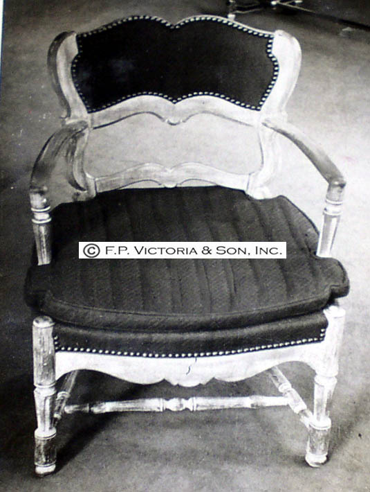 The only photo we have of the chair model made for Mrs. Mellow, in this case the armchair version.