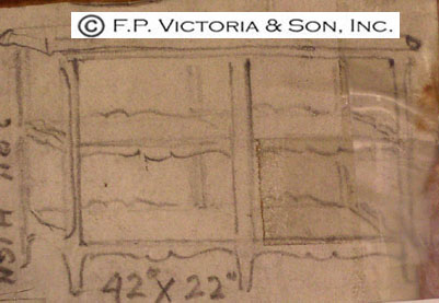 Design Archive sketch for a very versatile Louis XV style book table, made by Victoria & Son for Mrs. Mellon