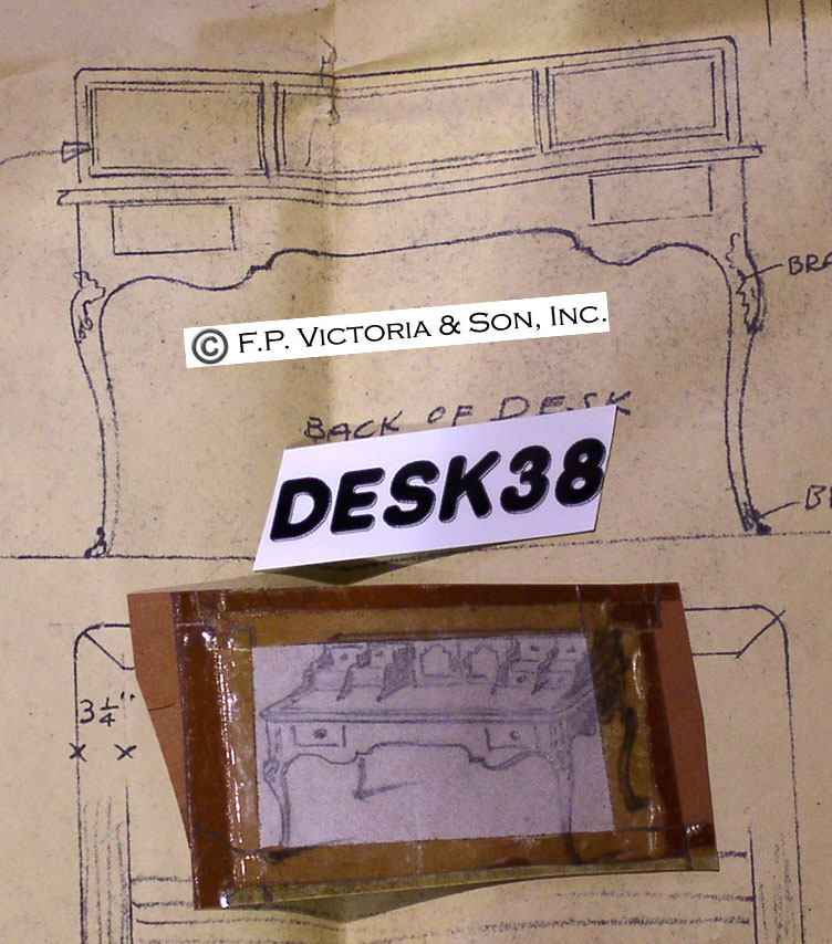 Blue print and reference sketches for Desk 38 from Victoria & Son design archive