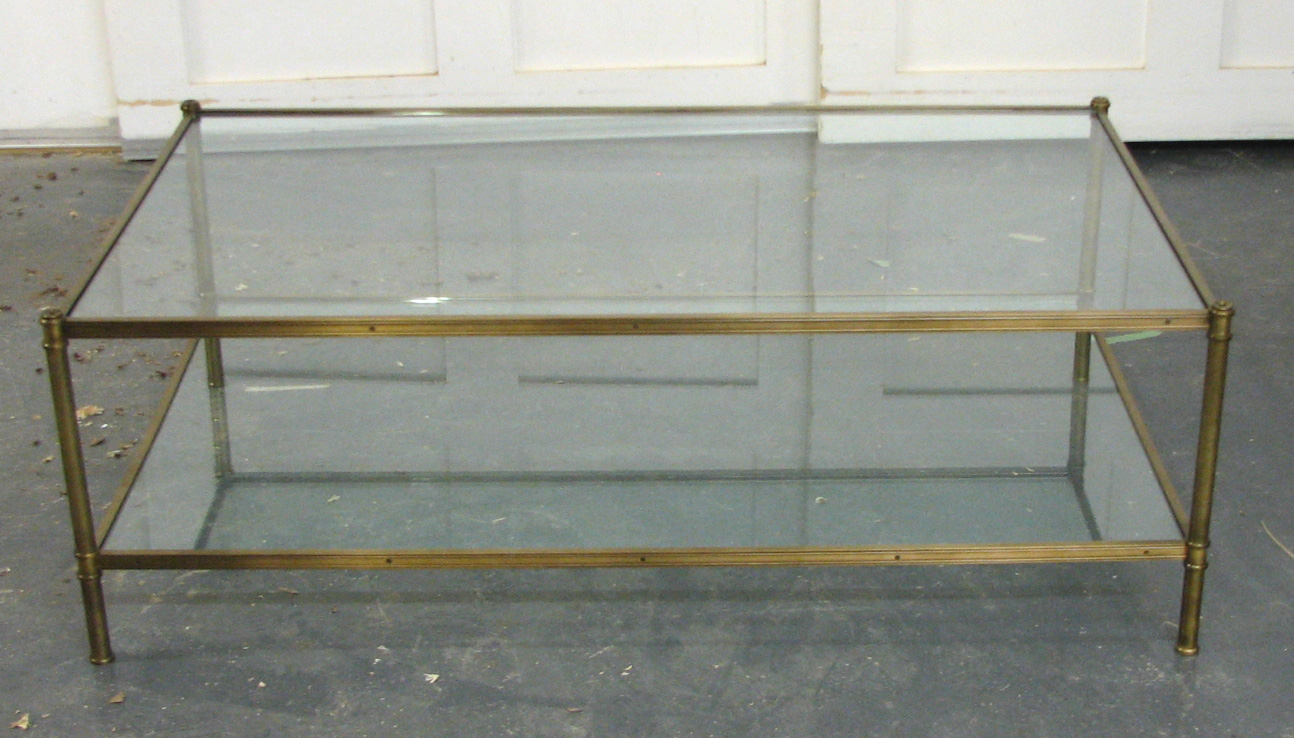 Custom size Cole Porter Coffee table with glass shelves.