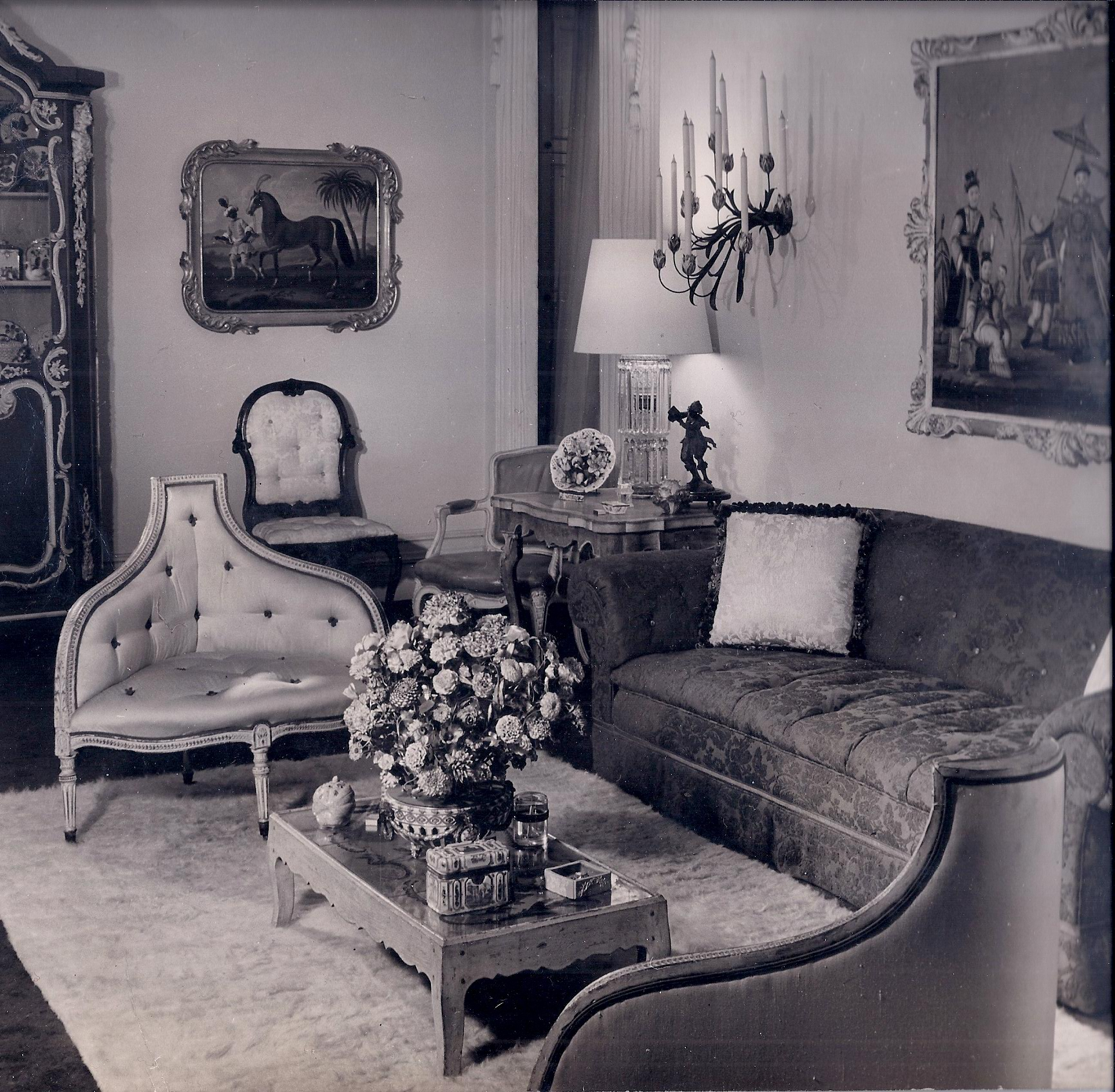 A circa 1950 photo  of Fred Victoria's early apartment in the Dakota including a pair of corner bergeres and many other pieces made by his firm.