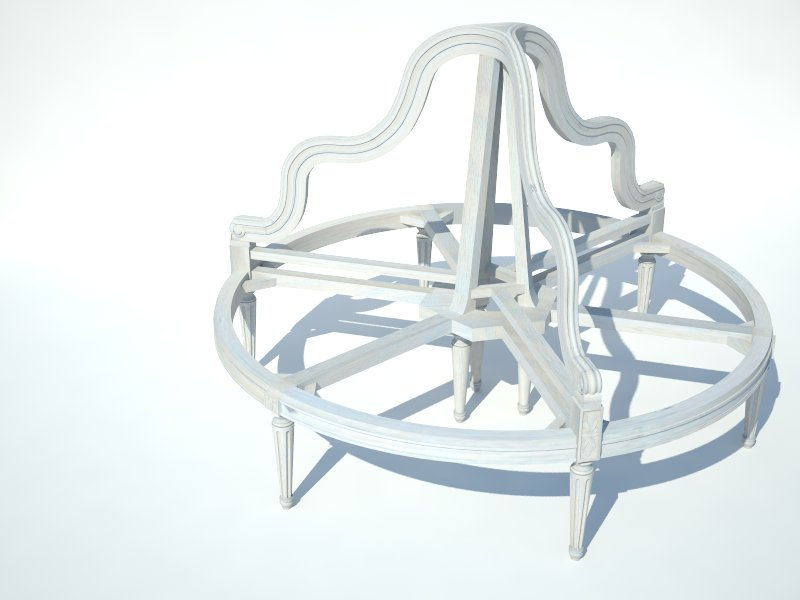 A rendering for the frame of the full-round bergere based on our existing designs.