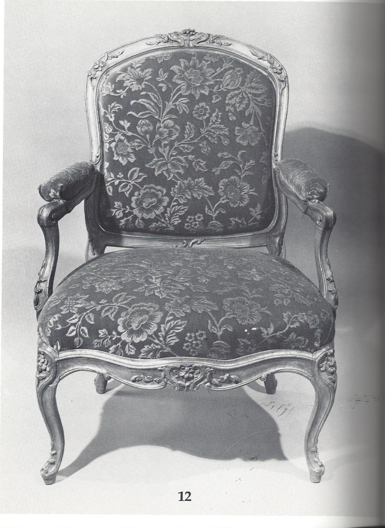 """A Louis XV fauteuil a la reine circa 1748 by Jean-Baptiste Gourdin featuring removable """"en chassis"""" upholstery. Plate 12 from The Master Chair-Makers Art."""
