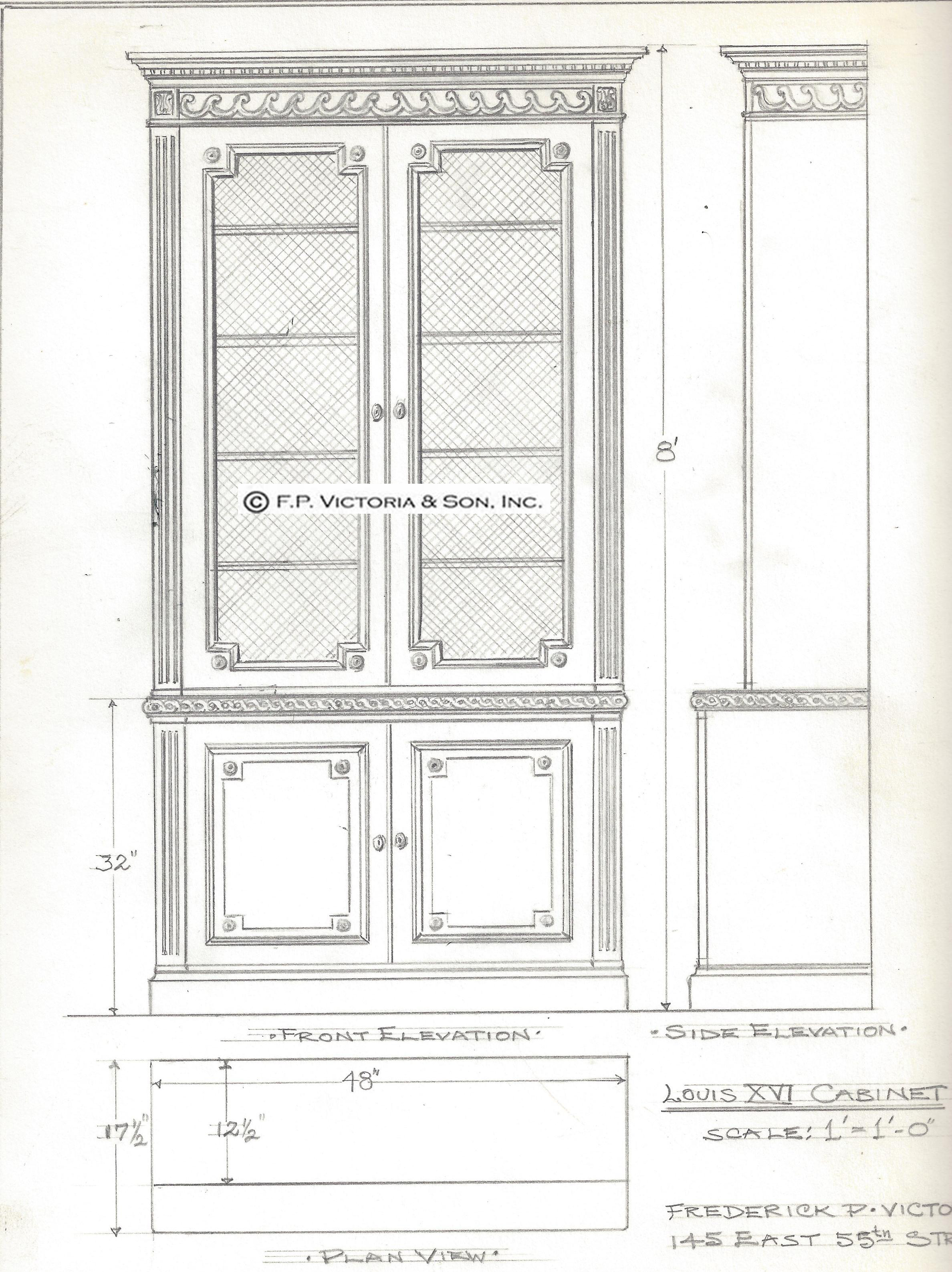 A breakfront variation of Victoria & Son model R650, Louis XVI style bookcase