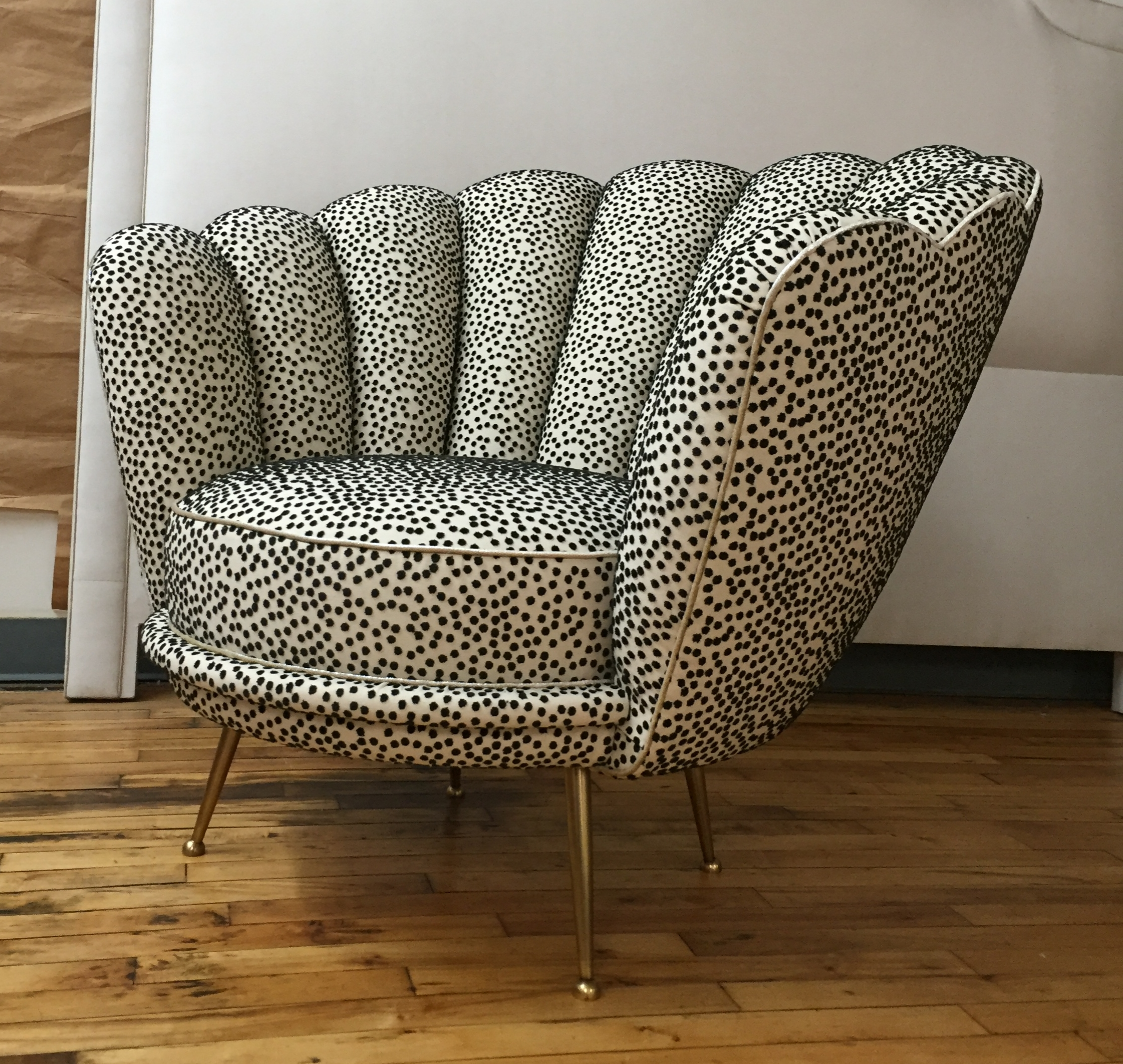 Custom Shell-form chair with brass feet for Kirill Istomin by Victoria & Son