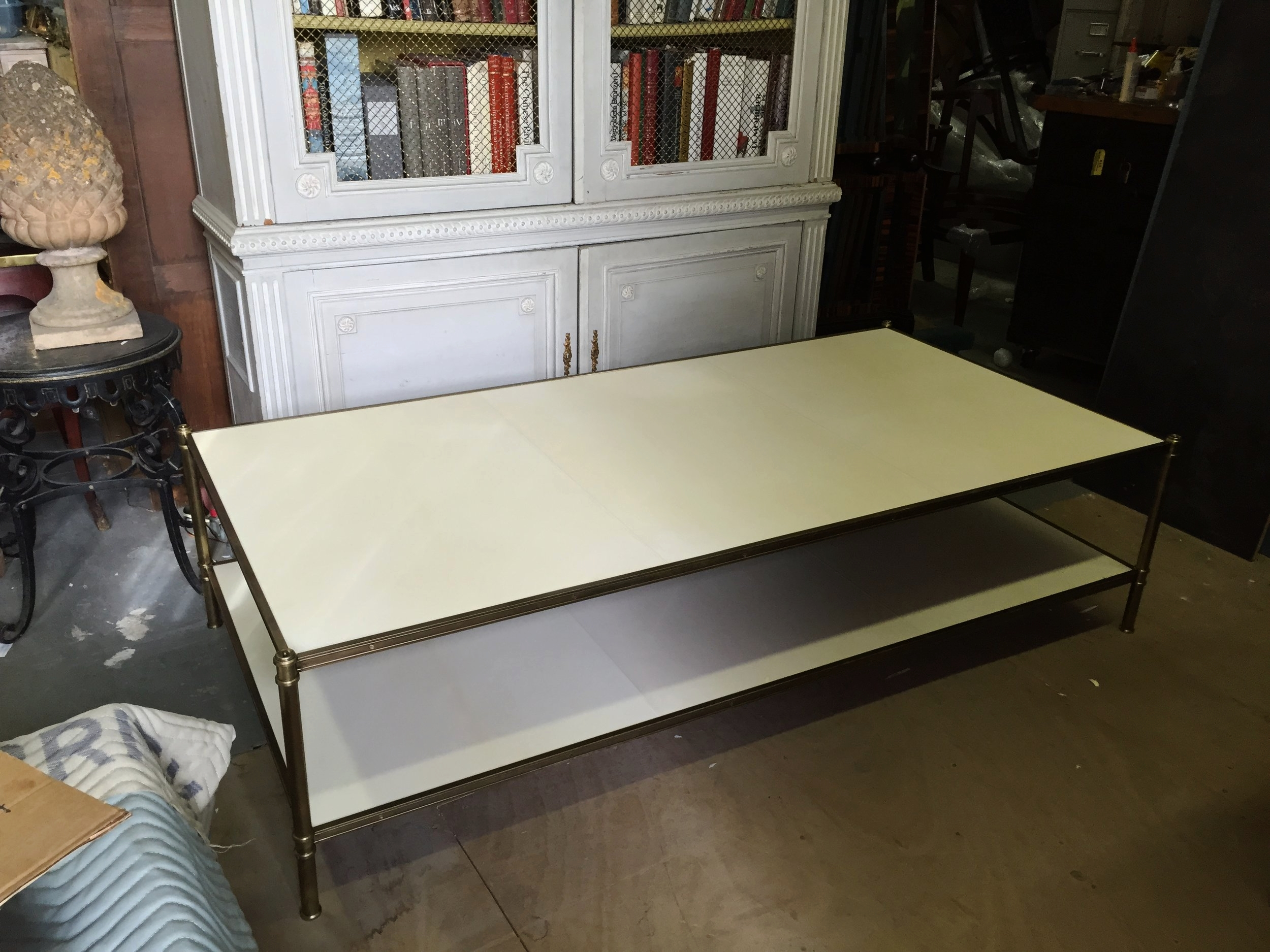 A large Cole Porter Coffee Table by Victoria & Son in parchment