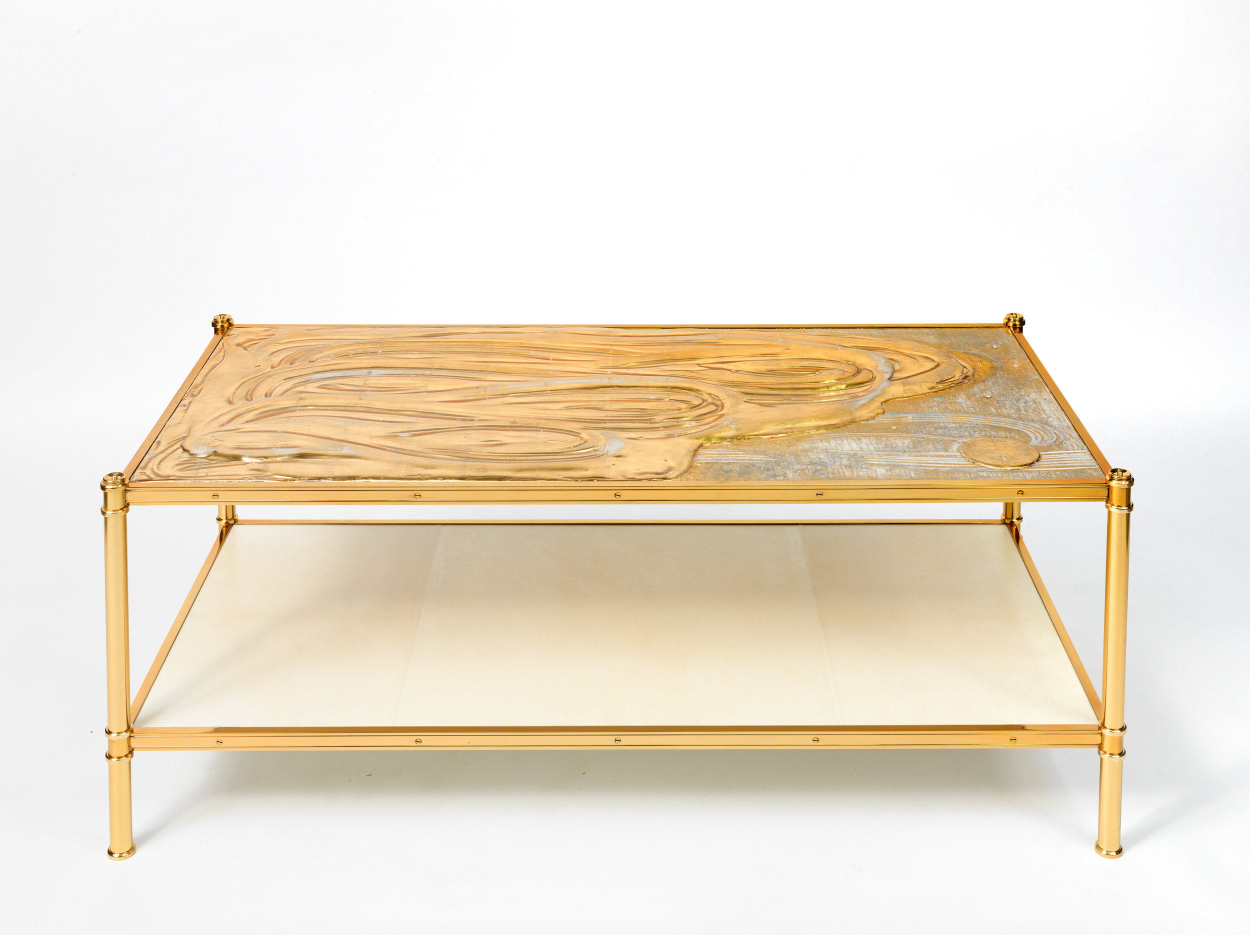 One of a pair of Cole Porter coffee tables by Victoria & Son for Alex Papachristidis featuring the work of Nancy Lorenz