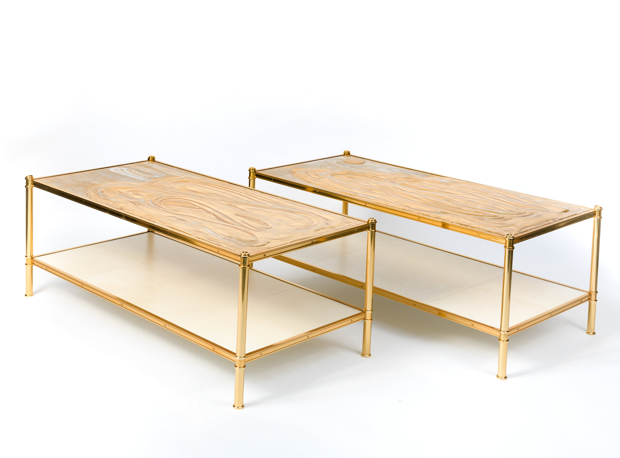 Custom pair of Cole Porter coffee tables by Victoria & Son for Alex Papachristidis featuring the work of Nancy Lorenz