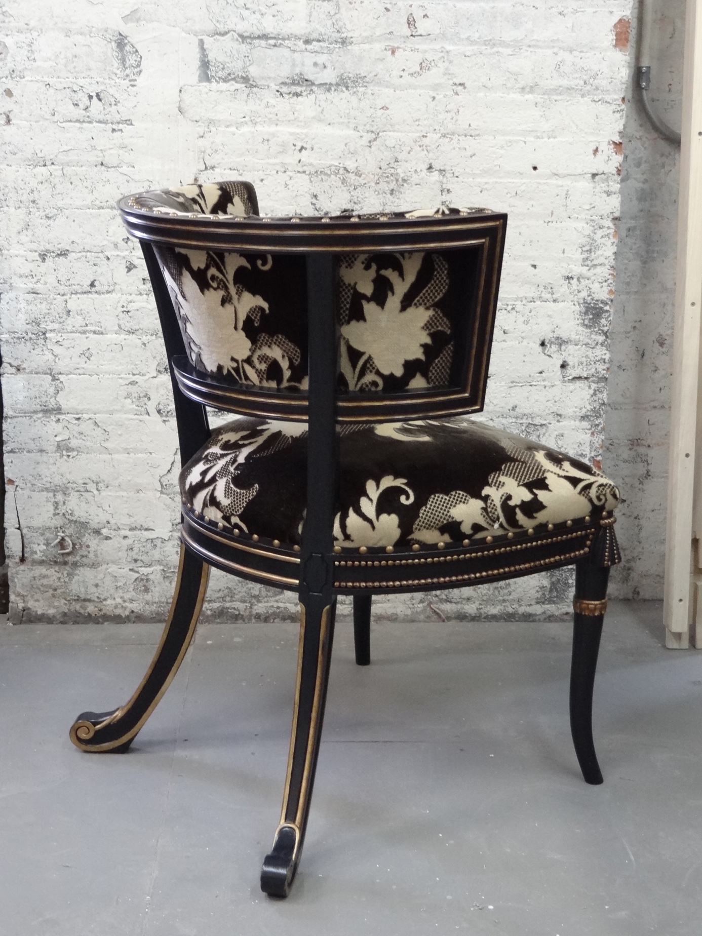 The Windsor chairs in M Group's cut silk velvet in the Victoria & Son studio