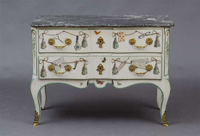 """A Trompe L'Oeil painted commode by Maison Jansen, featured in """"Jansen Furniture"""" by James Archer Abbott,page 252, and seems to show Fernand Renard's style of painting."""