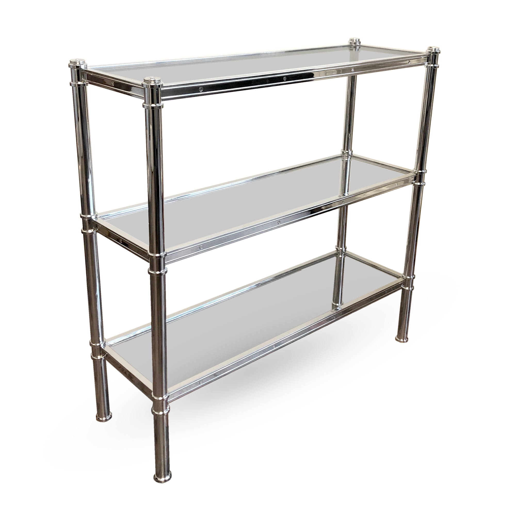 A low version of the Cole Porter etagere with glass shelves by Victoria & Son