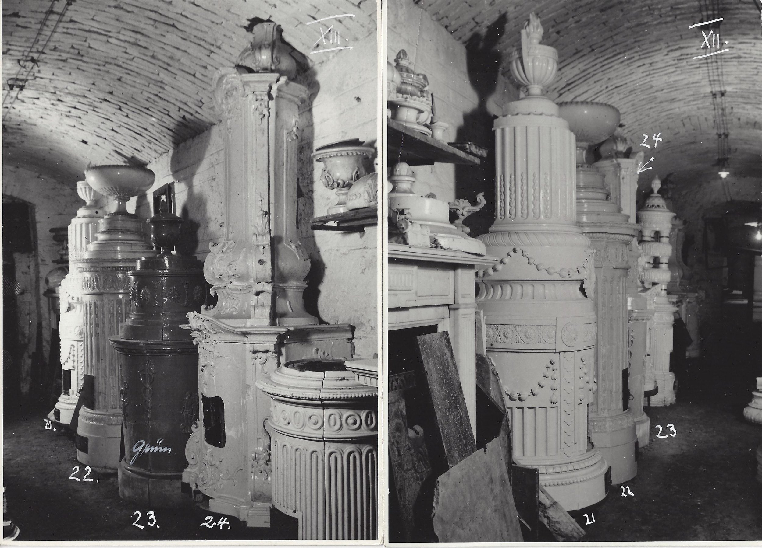 An old inventory photo of available ceramic room heaters taken by Frederick Victoria in Vienna circa 1948