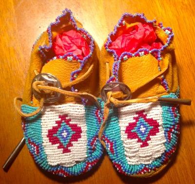 Handmade beaded baby moccasins