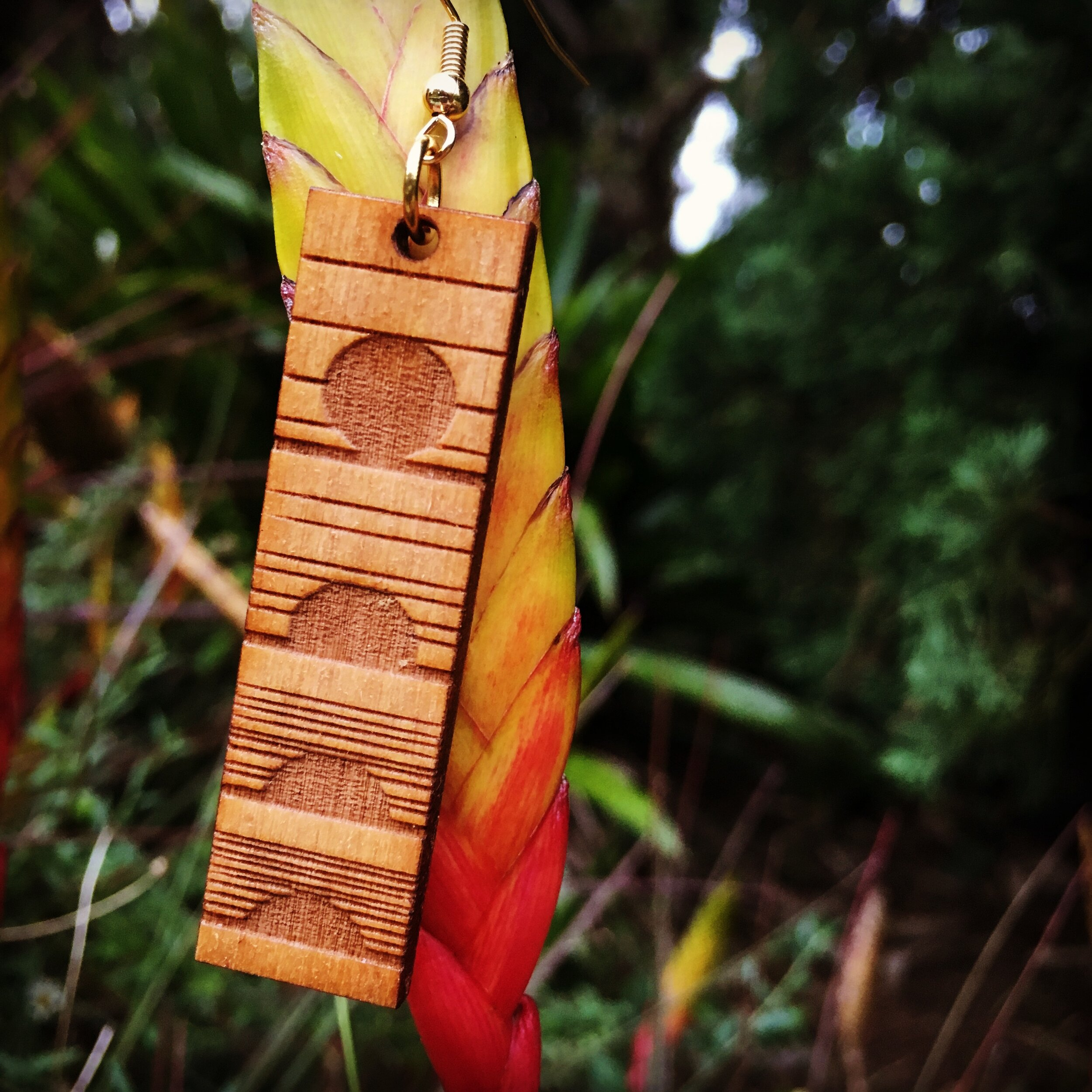 WOOD EARRINGS - LASER CUT WOOD EARRINGS MADE ON MAUI AVAILABLE NOW IN THE WOODSHOP