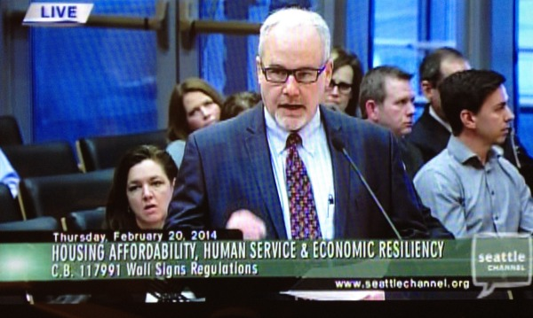 George Riddell in front of the Seattle City Council - 2/20/2014