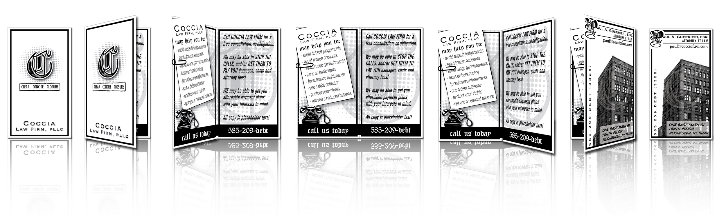 """""""panoramic"""" unfolding of multi-sided business cards for Coccia Law Firm, PLLC. (Left to right) Front of card, centerfold, back of business card with contact info, personalized for each legal rep."""