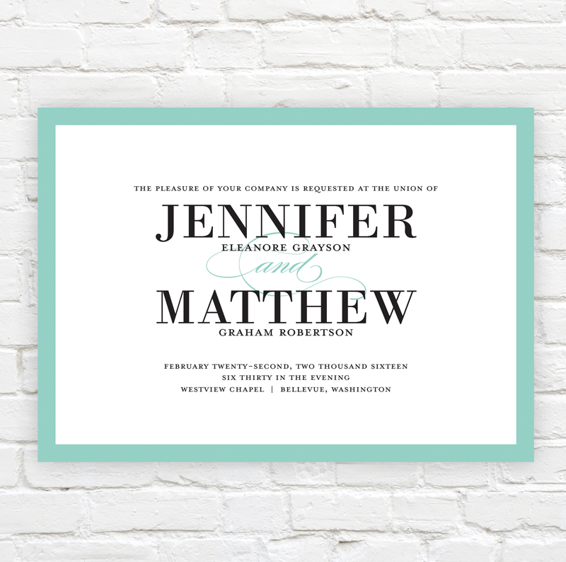 Bold Classic Wedding Invitation by J. Amber Creative