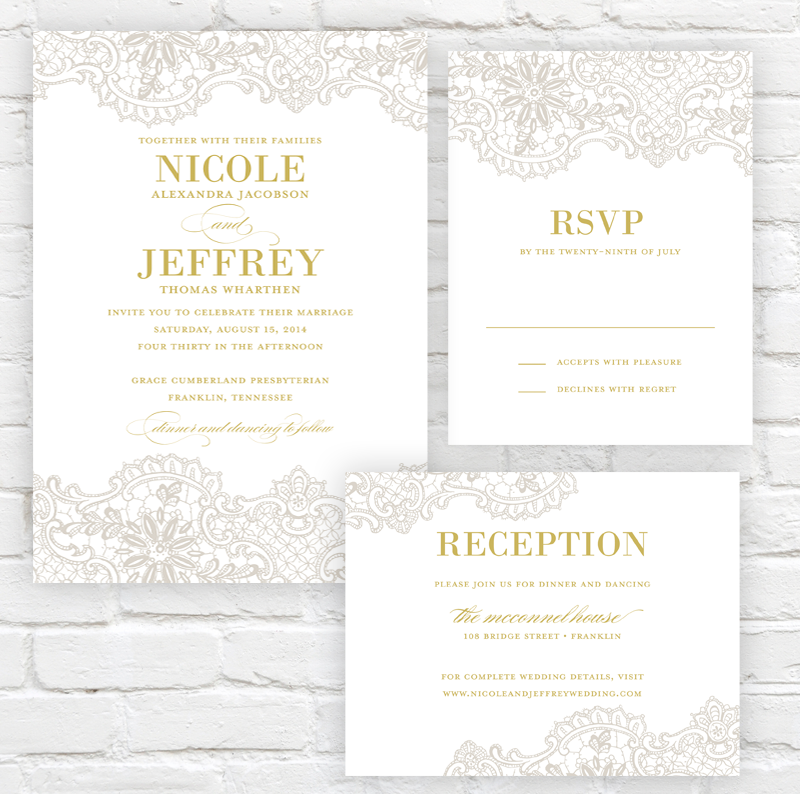 Lace Elegance Wedding Invitation by J. Amber Creative