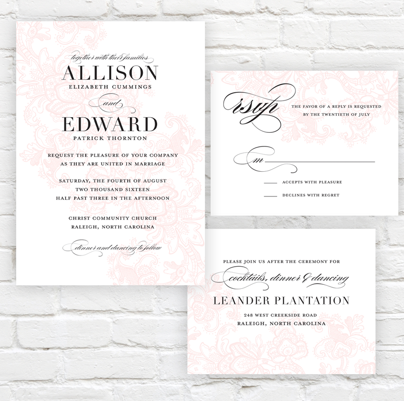 Floral Lace Wedding Invitation by J. Amber Creative