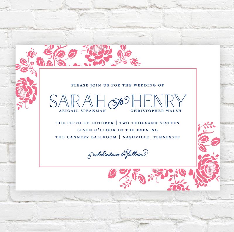 Floral Frame Wedding Invitation by J. Amber Creative - modern wedding invitations