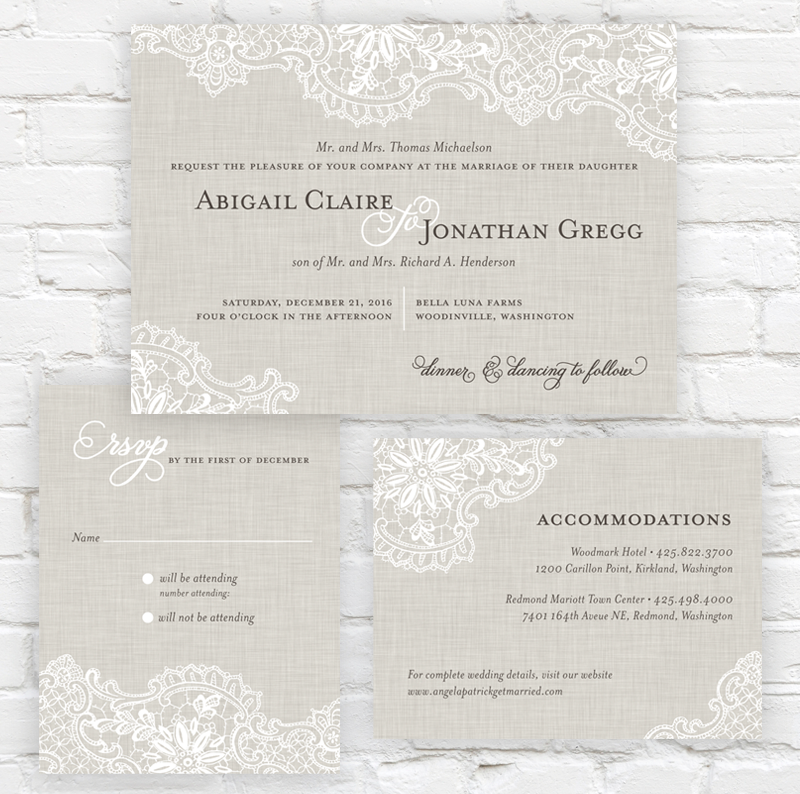 Linen Lace Wedding Invitation by J. Amber Creative