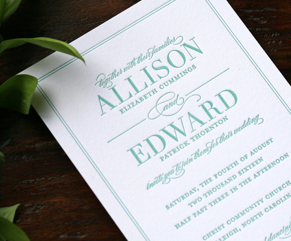 The Tailored wedding invitation shown in Letterpress printing.