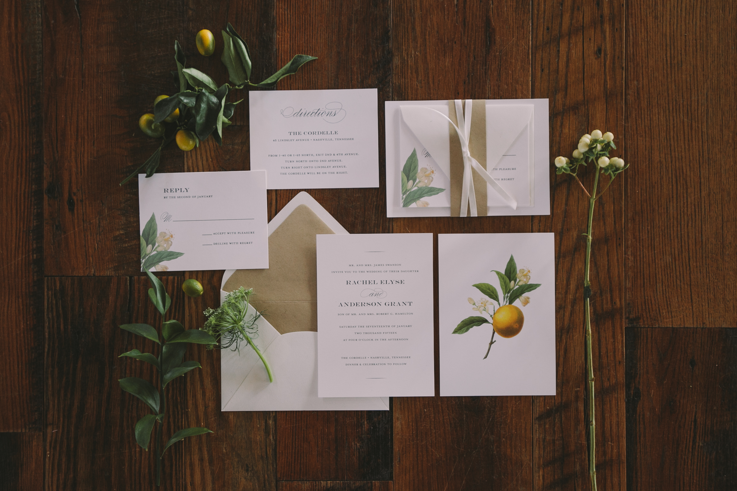 Winter Citrus invitation suite by J. Amber Creative