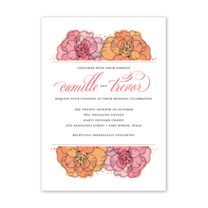 Watercolor Blooms Wedding Invitation by Jamber Creative