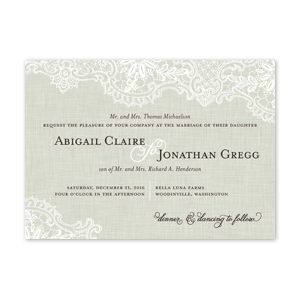 Linen Lace Wedding Invitation by Jamber Creative