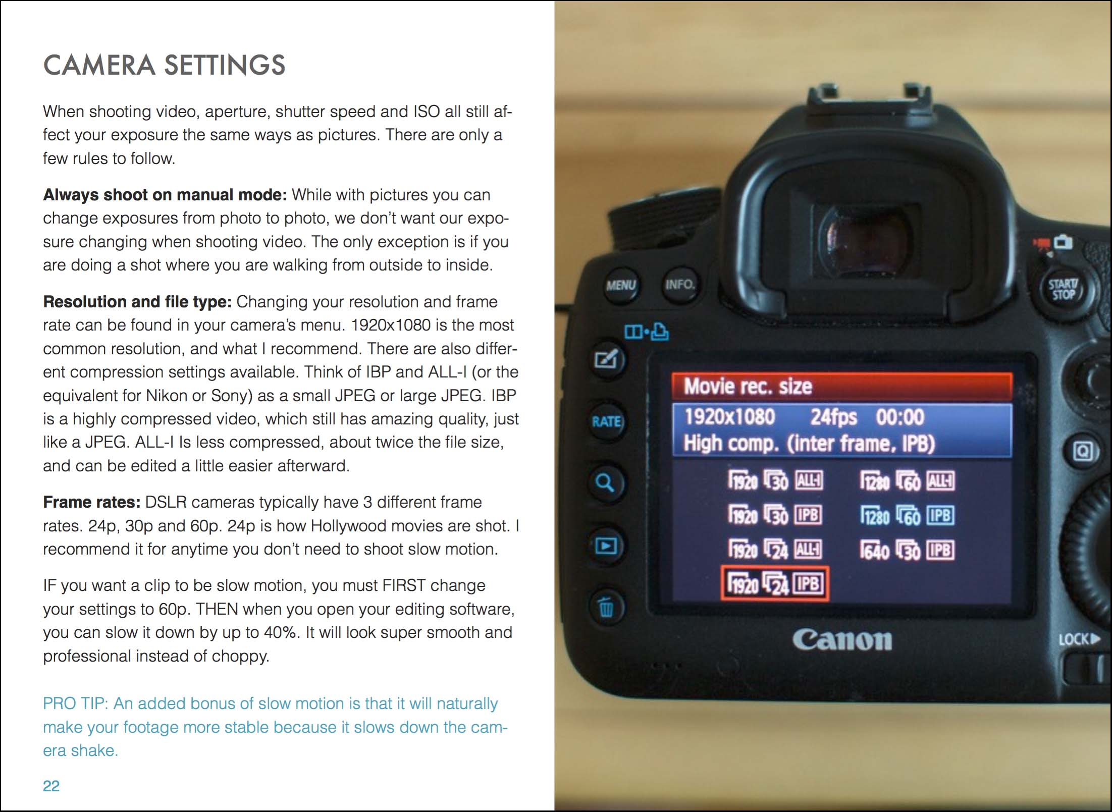 Camera settings for filming boudoir photoshoots