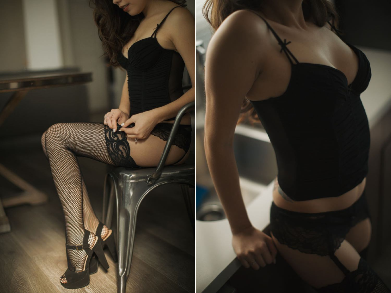 Sexy photograph of woman pulling up her stockings