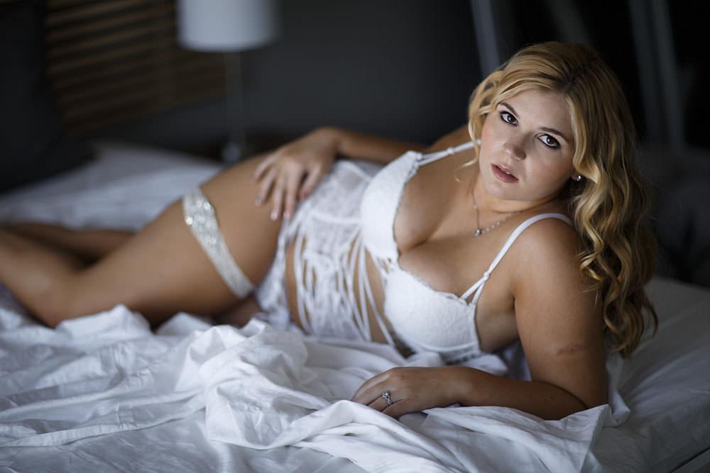 LA boudoir model in white