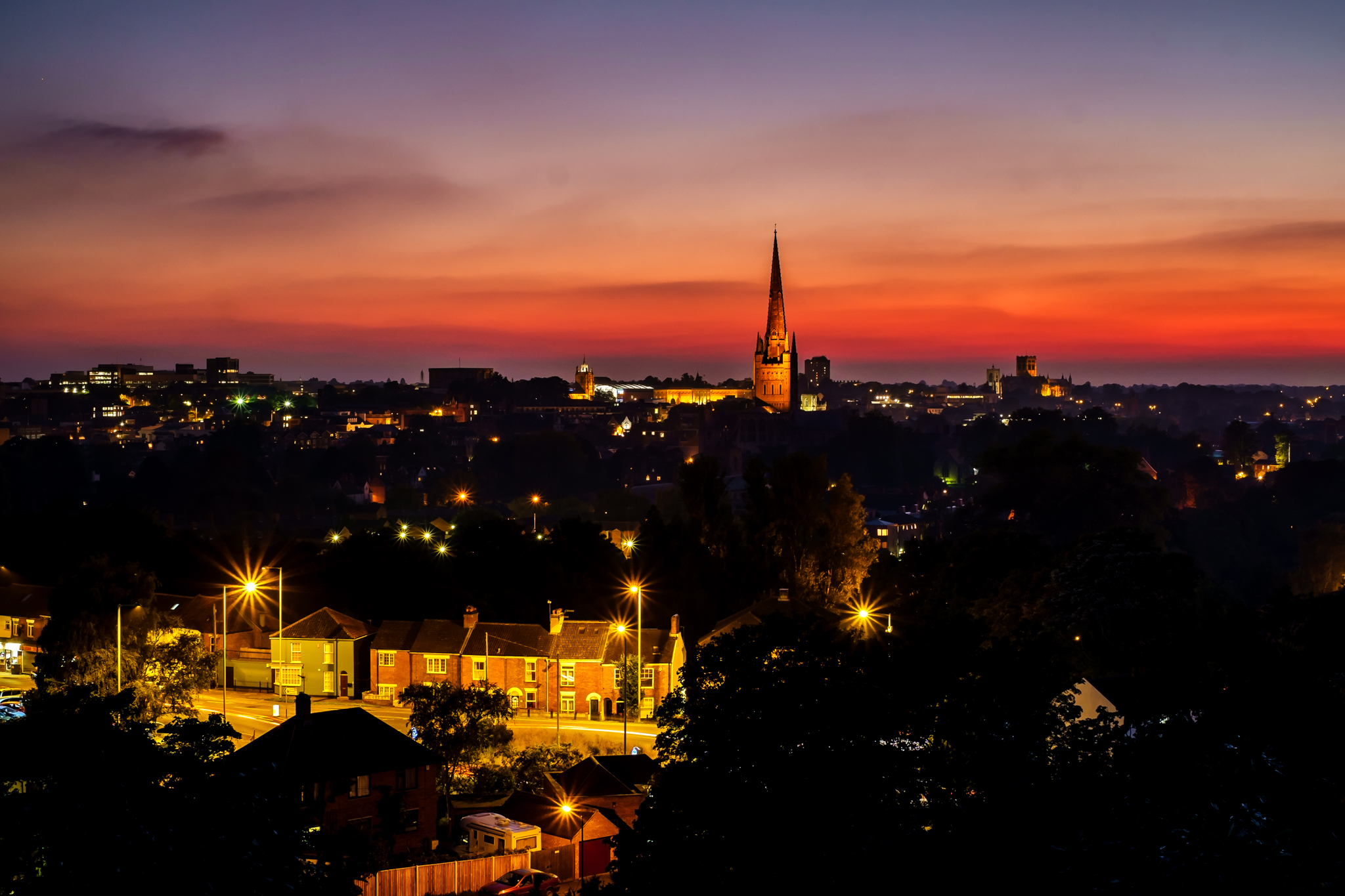 Norfolk city of Norwich at dusk.