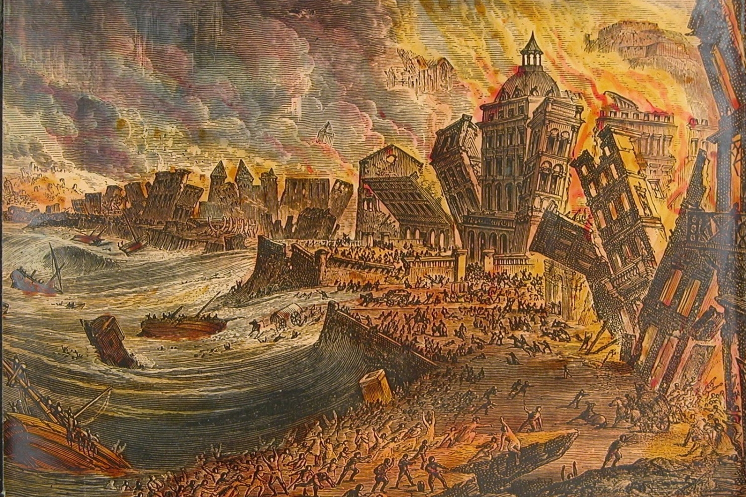 Copper engraving of the Lisbon earthquake of 1755.