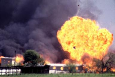 The waco compound in flames