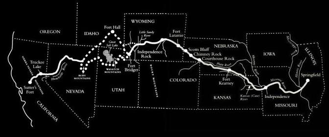 Donner party trail from springfield, IL to Sutter's fort, CA