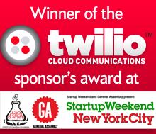 Winner of the Twilio Sponsor's award at Startup Weekend New York City.