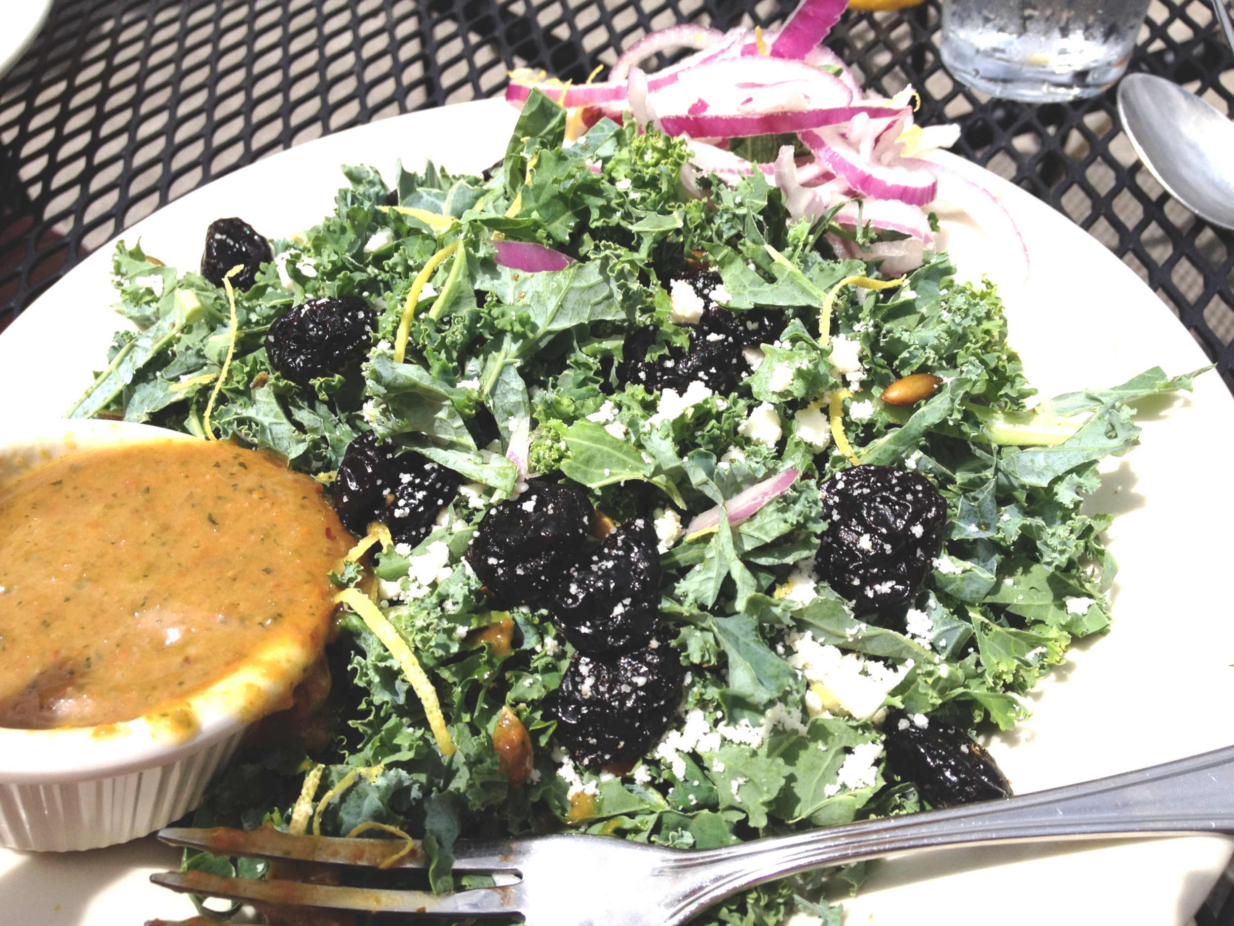 My kale salad with peanut vinaigrette on the side at Sunspot in Knoxville, TN. Not pictured: Anthony's sweet potato waffle fries :).
