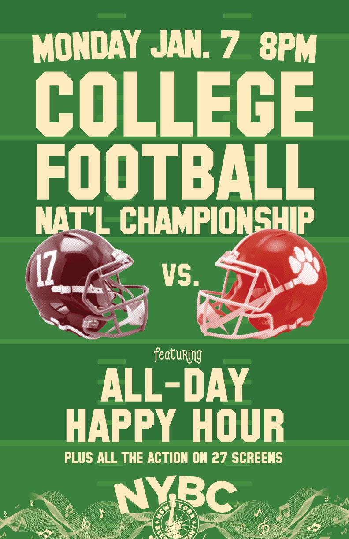 nyc where watch college football championship alabama clemson