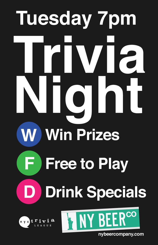 Special Tuesday Night Nyc Trivia Night New York Beer Company