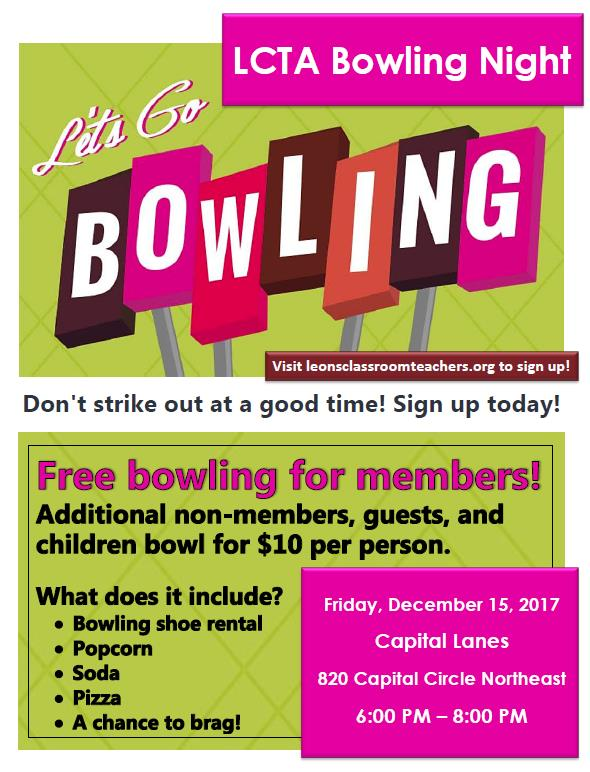 Free to all members - Get members from your site to make a team. High score will win the LCTA bowling trophy.