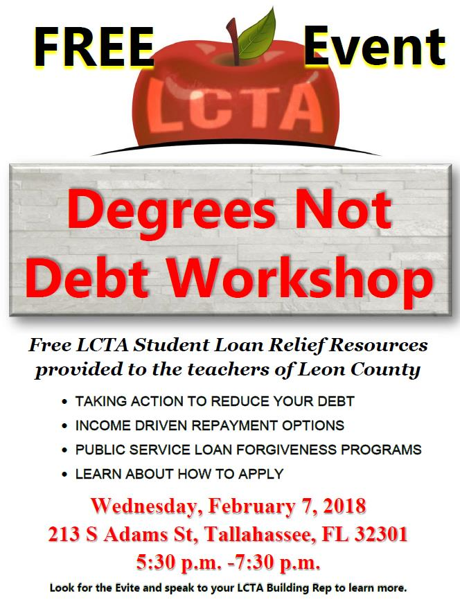 Wednesday, February 7, 2018 - TAKE ACTIONINCOME DRIVEN REPAYMENT OPTIONSPUBLIC SERVICE LOAN FORGIVENESSLEARN ABOUT HOW TO APPLY